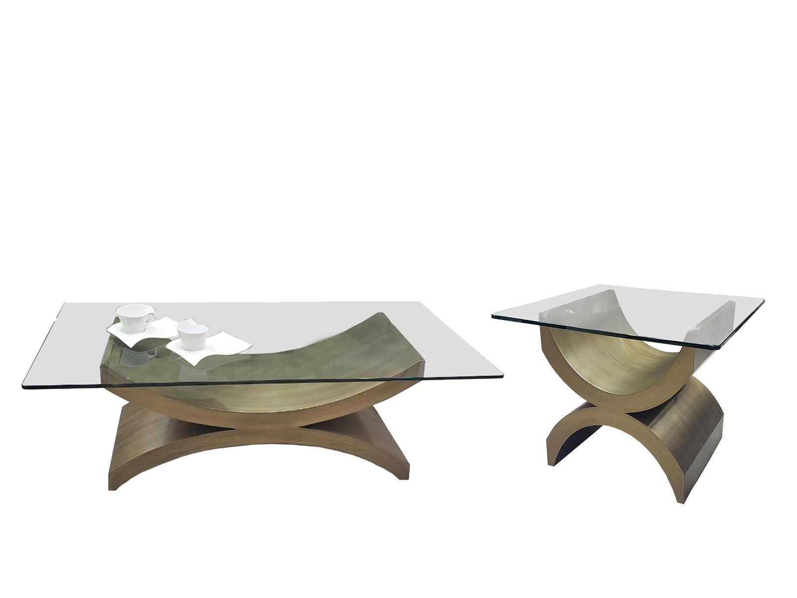 Mesa De Sala Balance Centro Y Lateral Para Cristal Rectangular