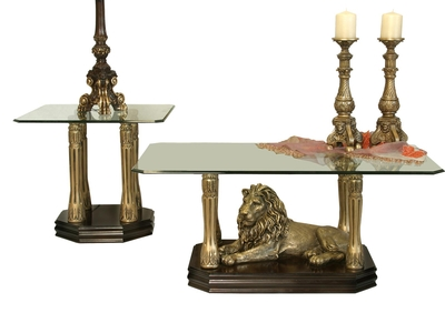 Mesa de Sala Leones color Bronce Centro y Lateral para Cristal Rectangular Destacada
