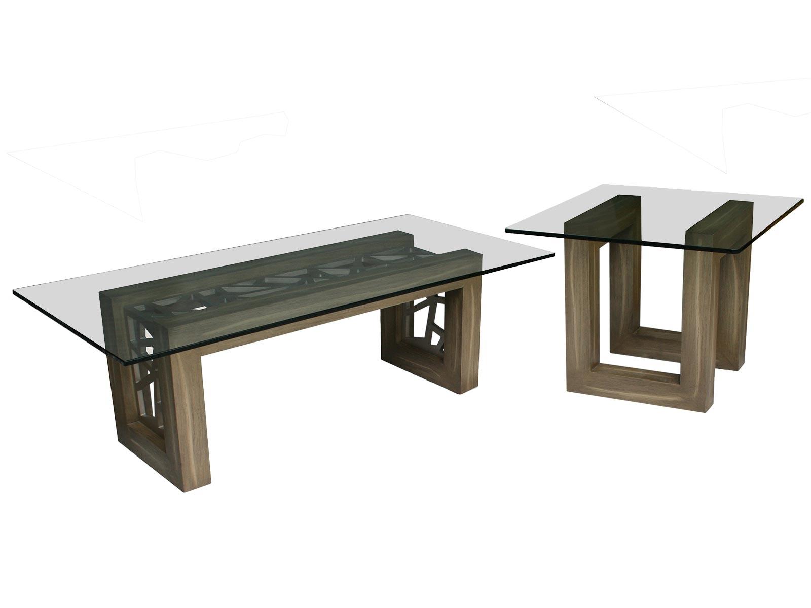 Mesa de sala porto centro y lateral para cristal for Mesas de centro de sala de vidrio