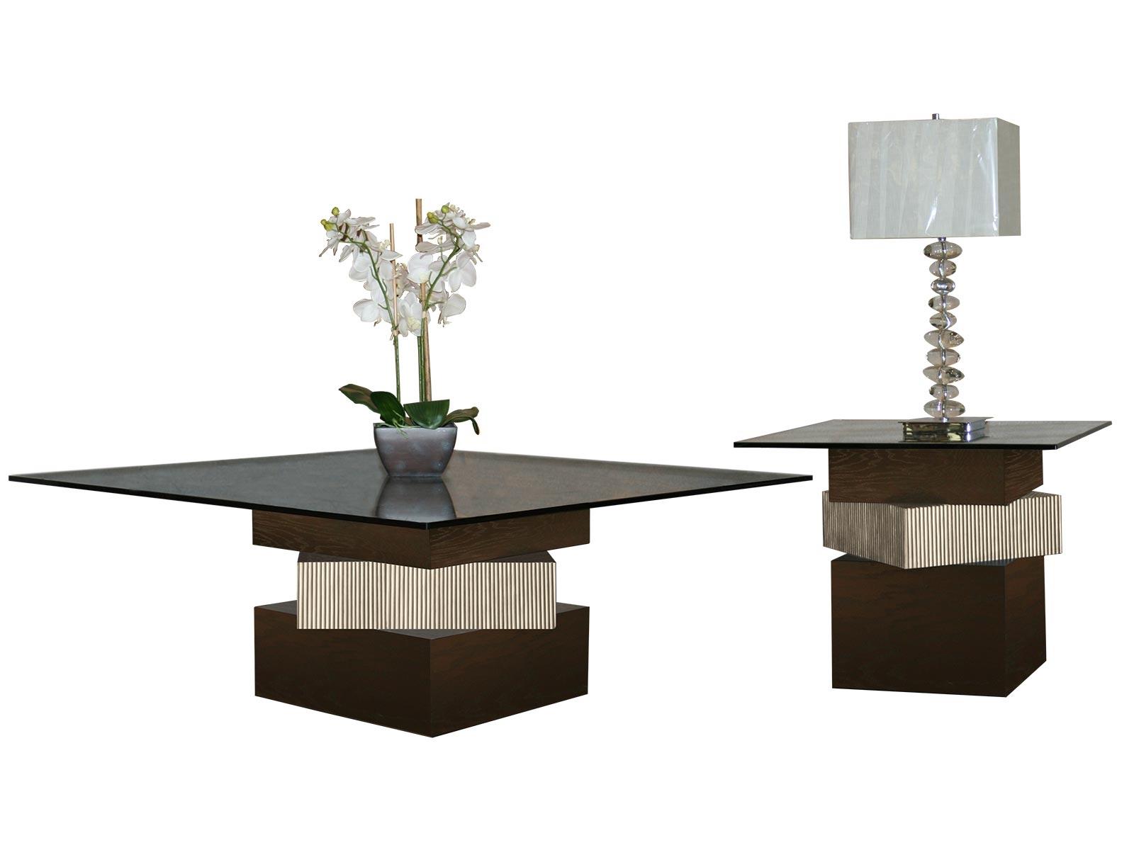 Mesa de sala cubos centro y lateral para cristal cuadrado - Mesa de centro sala ...