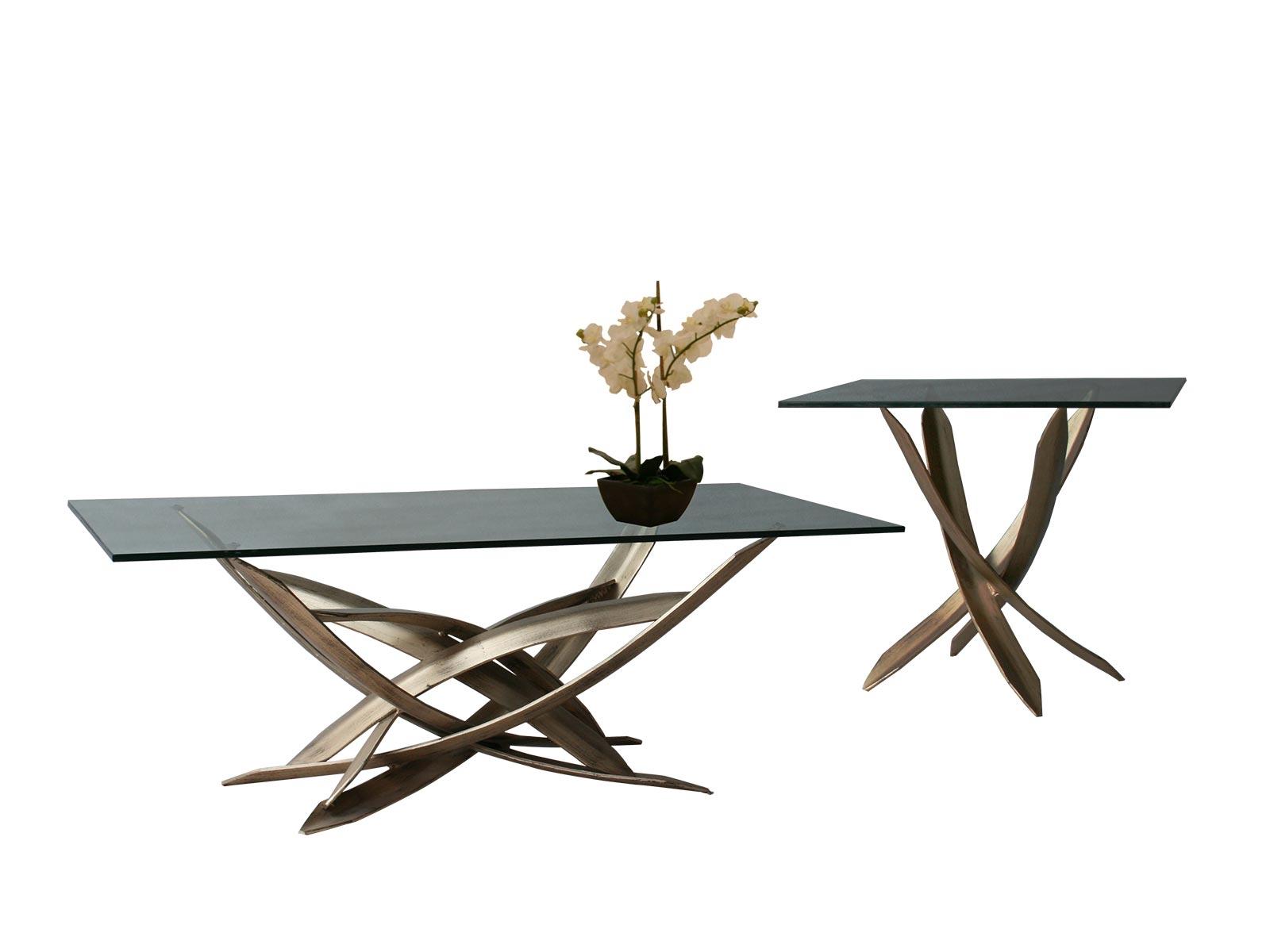 Mesa de sala rua centro y lateral para cristal rectangular - Bases para mesas de centro ...