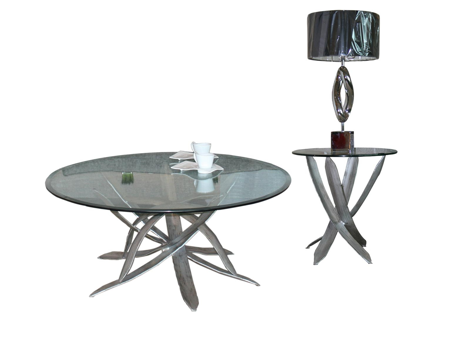 Mesa de sala rua centro y lateral para cristal redondo for Cristal redondo para mesa